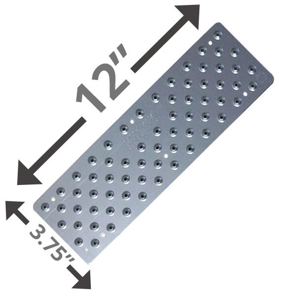 """12"""" Non Skid Stairs Pad - Clear Coat Anodized"""